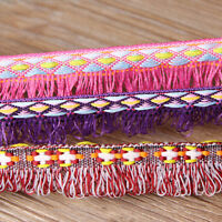 50 Yards Tassel Lace Crochet Fringe Jacquard Ribbon Braid Trim Fabric DIY Crafts