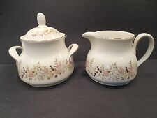 Royal Doulton WOODSTOCK Sugar & Creamer England Floral Design on White