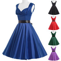 Women Solid Color Sleeveless Dress 50s Elegant Vintage Cocktail Party Dresses