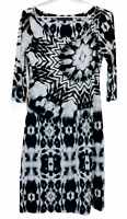 Charlie Brown Womens Black/White 1/2 Sleeve Shift Dress Size 8