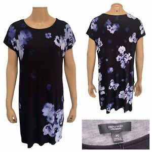 SIMPLY VERA Vera Wang Navy Floral Pattern Tunic Dress With Pockets Size M NEW