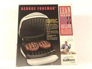 NEW ORIGINAL 2000 GEORGE FOREMAN Indoor Lean Mean Fat Grilling Machine GR10AWHT