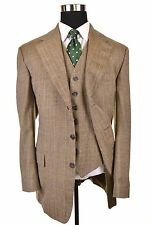 RECENT Chester Barrie SAVILE ROW Brown TWEED 3pc Suit Jacket Pants Vest 42 L