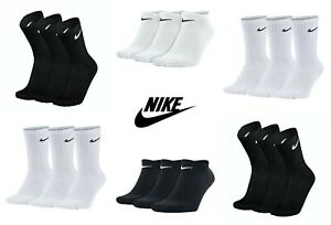 Nike Socks 3 Pairs Mens Womens  Crew Cushioned No Show Liner Cotton Sports Socks
