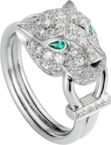 White Round Diamond with Created Green Emerald Panther Face Split Shank Ring