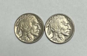 1936 P & 1937 P Buffalo Nickel About Uncirculated  2 Coin Set