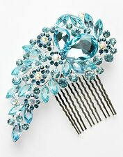 Blue Colour Bridal Bridesmaid Wedding Hair Comb Clip Rhinestone Diamante Prom