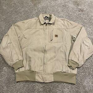 Carhartt Wylie Lined Work Jacket Size XL Tall J163 GKH Khaki Beige Full-Zip Tan