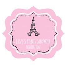 24 Parisian Paris Theme Personalized Framed Bridal Shower Wedding Favor Stickers