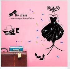 Fashion Women Dress Hoom Room Decor Removable Wall Sticker Decal Wandtattoo