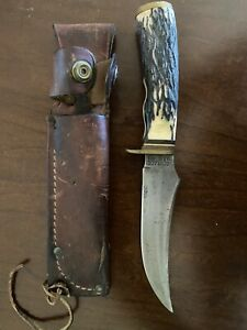 Schrade USA 498 49ers Hunting Knife w/ Leather Sheath~ Good Vintage Condition