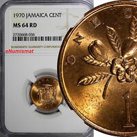 Jamaica Bronze 1970 1 Cent NGC MS64 RD FULL RED TONING .TOP GRADED BY NGC KM# 45
