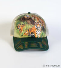 The Mountain Wild Tiger Collage Adult Graphic Trucker Hat, Green, Adjustable