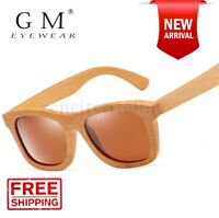 GM Natural Wooden Sunglasses Handmade Polarized Mirror Fashion Bamboo Eyewear S