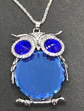 "Owl Blue Gem Large Chunky Charm Tibetan Silver 24"" Necklace BIN"
