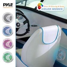 Pair Pyle 6.5'' Marine Waterproof Speakers, Multi-Color LED Lights 150W White