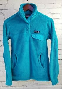 Patagonia snap-t Pullover pocket Fleece Womens XS aqua Blue thick soft sty25442