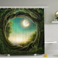 12 Hooks Green Design Shower Curtain Bathroom Waterproof Polyester Home U