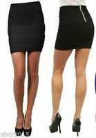 NEW WOMENS BODYCON RIBBED PANEL MINI SKIRT LADIES PARTY WEAR BLACK RIB SKIRTS