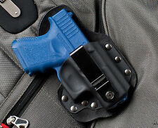 Black Leather Kydex Hybrid Gun Holster IWB Single Point Carry for Glock 26 27 33