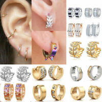 1Pairs Fashion Women Men Stainless Steel Hoop Earrings Circle Dangle Jewelry