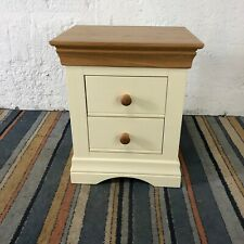 Wooden Oak Top Cream Bedside Cabinet with 2 Drawers