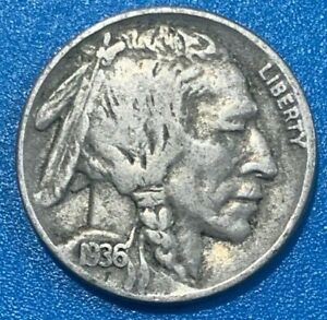 """1936 United States 5 Cents """"Buffalo Nickel""""  Coin"""