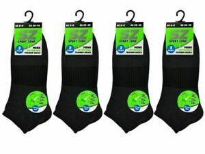 Men's Trainer Socks 6 Pairs Black Short Cotton Arch Support Comfort Size 6-11 UK