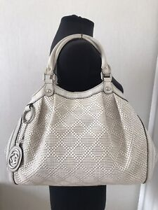 Authentic Gucci Sukey rattan white leather Medium tote shoulder bag
