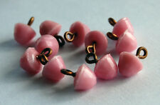 VINTAGE ANTIQUE 12 LIGHT PINK FACETED DOME GLASS BUTTON BUTTONS BEAD • 8x6mm