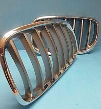 Front Hood Grills L & R Replace BMW OEM# 51137185223/24 Chrome Titanium X5 X6
