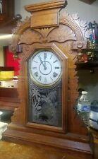"Antique Ingraham Gingerbread Kitchen Wood Ornate Mechanical Clock ""Ducat"""