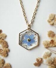 Handmade cute forget me not resin necklace real pressed flower jewellery UK gift