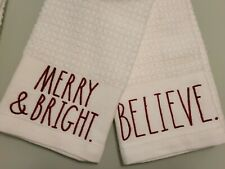 Rae Dunn Christmas 2020 MERRY & BRIGHT. and BELIEVE. Kitchen Towels Set Of 2