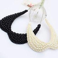 New Fashion Women Pearl Hollow Out Choker Bib Collar Statement Necklace Pendant