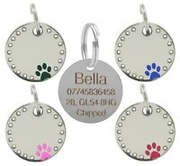 Personalised Engraved 30mm Diamante Paw Pet Tag Dog Cat Pet Tag ID Collar Tags