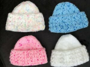 NEW ! HAND KNITTED PREMATURE OR SMALL BABY HATS CAN  ALSO BE  FOR REBORN DOLLS
