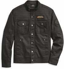 Harley Davidson Men's Flaming Skull Patch Denim Jacket, Black, 97400-20VM, 2XL
