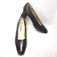 Women's JENNIFER B Brown Cap Toe Snakeskin & Leather Medium Heel Pumps SZ 10 M