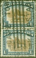 South Africa 1927 1s Brown & Dp Blue SG36 Good Used Vert Pair