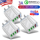 3PACK 3 Port Fast 3.0 Quick Charge USB Hub Wall Charger Power Adapter US Plug