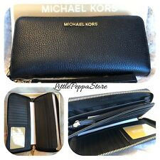 NWT MICHAEL KORS PEBBLED LEATHER JET SET TRAVEL CONTINENTAL WALLET IN BLACK