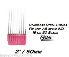 """OSTER A5/A6 STAINLESS STEEL 2""""/50mm GUIDE Clipper COMB*Fit #10 Andis,Wahl Blade"""