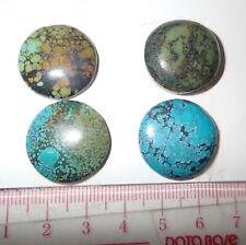Turquoise Stone Round 22x22 mm Flat Cabochon 73 Carat 4 pieces 14.6 gram