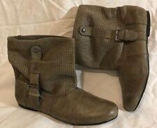 Next Khaki Ankle Leather Lovely Boots Size 4 (811vv)