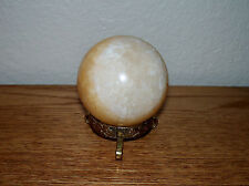 """Polished ORANGE CALCITE SPHERE W/ wooden  STAND Mexico 8 oz.  230g / 53mm 2"""""""