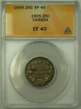 1905 Canada Quarter 25 Cents Silver Coin ANACS EF-40