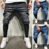 Men Cycle Skinny Cargo Jeans Long Trousers Slim Fit Denim Stretch Casual Pants