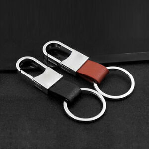 2Pcs Leather Metal Car Keychain Holder Clip Men & Women's Fashion Style Key Ring