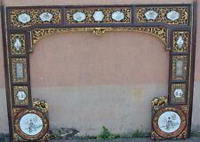 Partie d'alcove Lit chinois bois ancien motifs verres peint main et ceramique ..